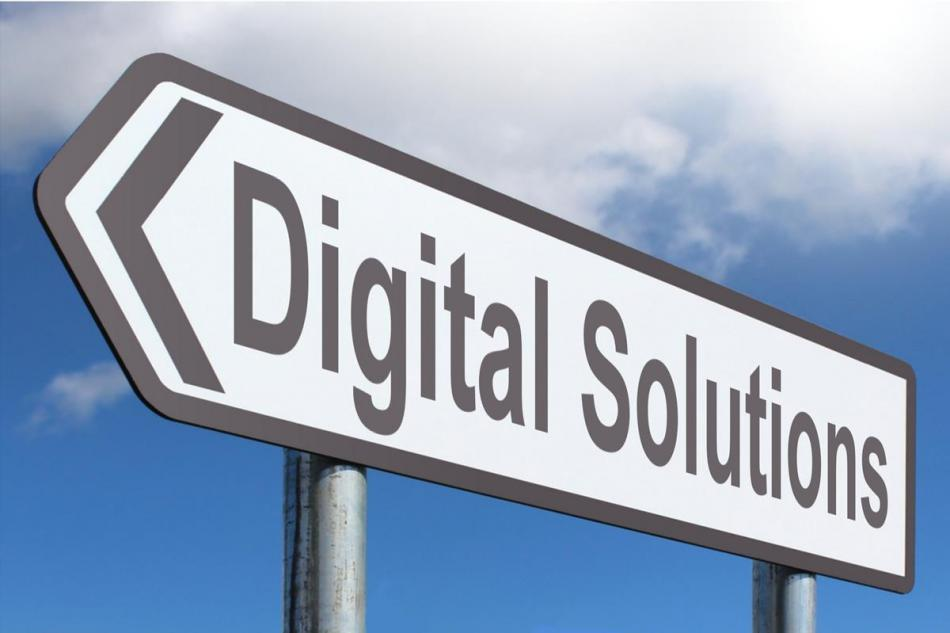 Skylt med texten Digital Solutions